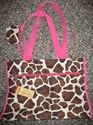 Ladies Giraffe Print Tote Handbag w/ Change Purse Pink Ladies Giraffe Print Tote Handbag w/ Change Purse Pink
