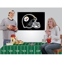"Pittsburgh Steelers Party Kit Includes Tablecloth & Flag Pittsburgh Steelers Partry Kit Includes 72"" x 52 reusable vinyl tablecloth and 2 x 3 foot Applique Flag Embroidered Nylon Fan Banner - perfect for all your tailgating and in-home parties"