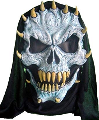 Blue Horned Devil Demon Mask with Cowl and Moving Jaw Halloween Costume Accessory