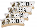Da Vinci Set of 4 Curved Wooden Playing Card Holders in Natural Wood Finish (14 Inch)