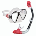 U.S. Divers Adult Lux Lx Purge Mask And Snorkel Set Black/red