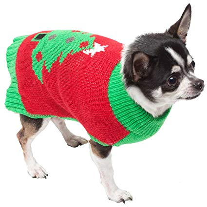 trezo paws red holiday tree pet christmas sweater large - Large Dog Christmas Outfits