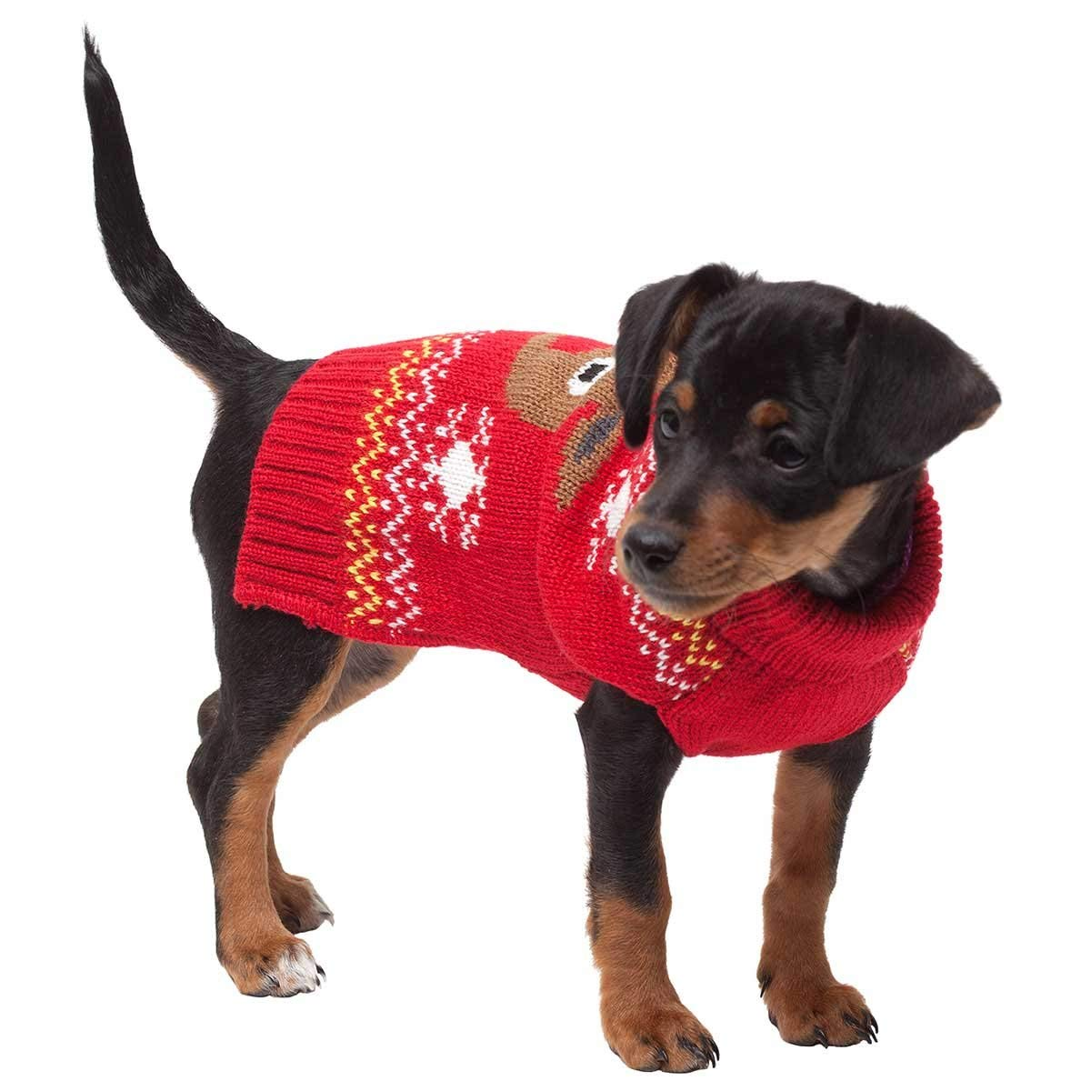 trezo paws red reindeer pet christmas sweater large - Large Dog Christmas Sweaters