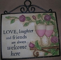 Large Hanging Garden Plaque-Love, Laughter, Friends