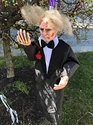 Light Up Hanging Zombies Halloween Fancy Dress Costume Party Decoration Prop New (Black Taffeta with Bow Tie & Rose)