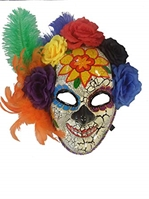 Day of the Dead Deluxe Multicolor Roses & Ribbon Full Mask