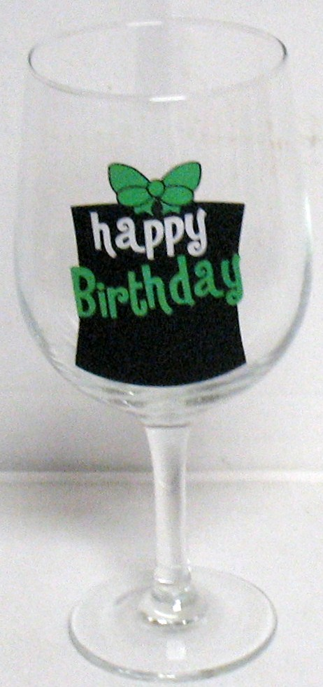 Happy Birthday Chalkboard Wine Glass with Chalk
