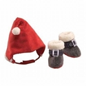 Booties and Hat Gift Set, Christmas Baby with Santa Hat