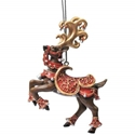 Silver Bells Christmas Prancing Reindeer Collectible Tin Christmas Ornament