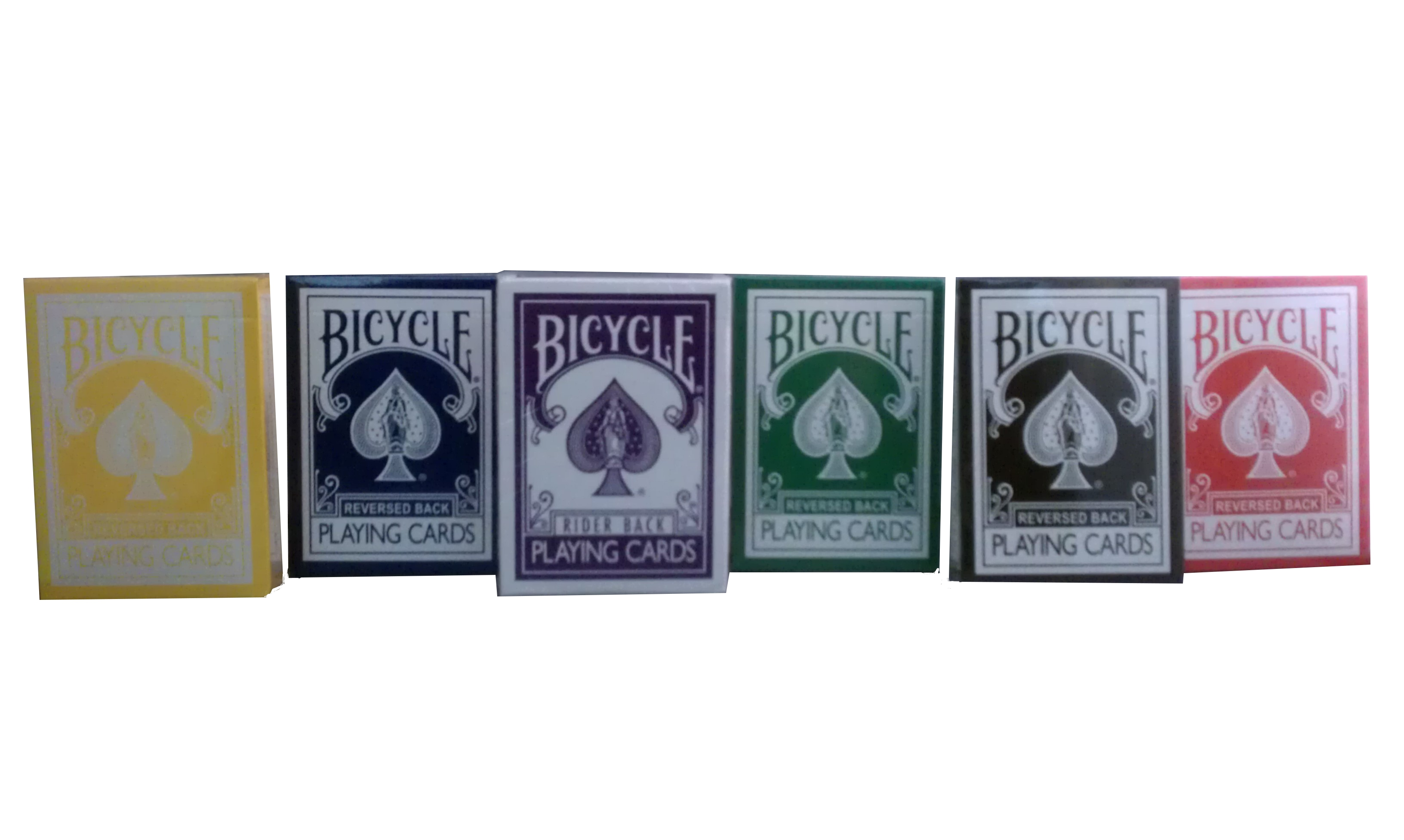 Bicycle Red, Black, Yellow, Blue, Purple, and Green Decks - Gaff Cards From Magic Makers Bicycle Red, Black, Yellow, Blue, Purple, and Green Decks - Gaff Cards From Magic Makers