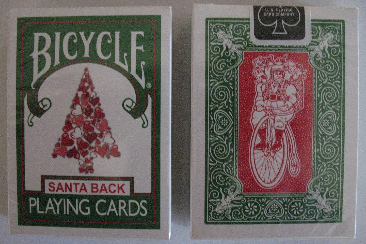 Bicycle 245 Green Deck Red Santa Maiden Back Playing Cards collectible playing cards, santa maiden back, magic cards