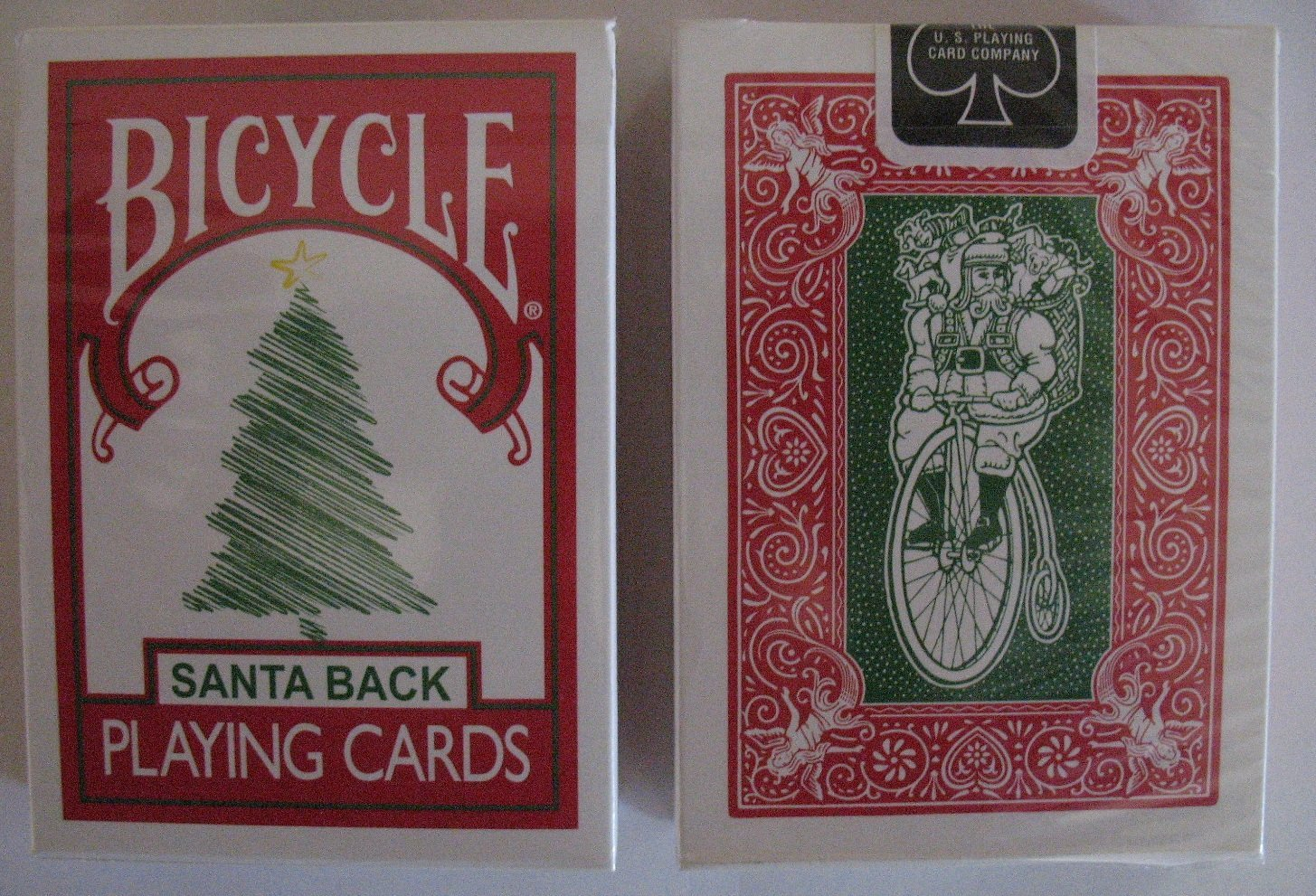 Bicycle 225 Red Deck Green Santa Maiden Back Playing Cards collectible playing cards, magic cards, bicyle playing cards